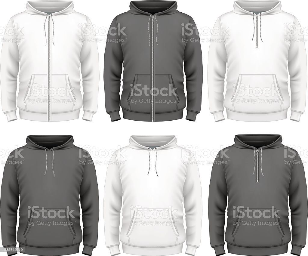 Men hoodie vector art illustration