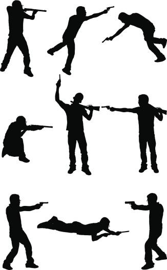 Men in a gun fight shoot out