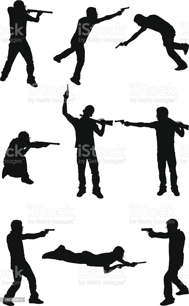 Men in a gun fight shoot out vector art illustration