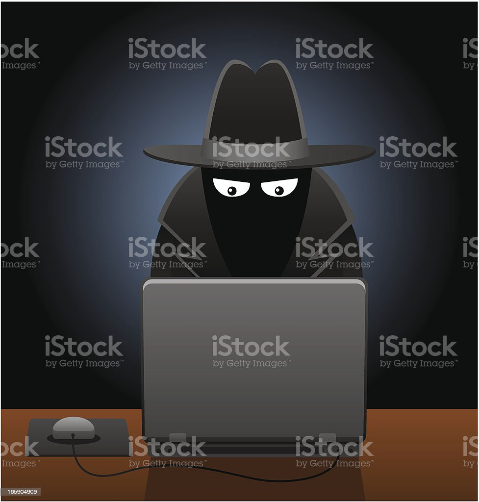 Men in Black Using Computer vector art illustration