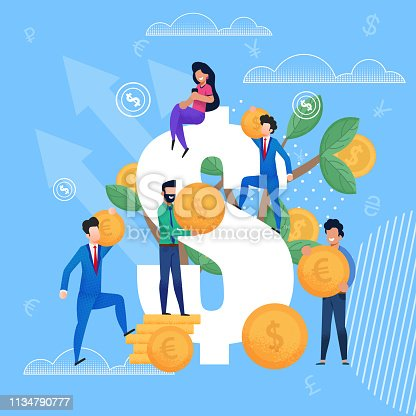 Happy Men in Business Suits are Holding Gold Coins in form Dollars and Euros. Vector Flat Illustration on Blue Background. Top Dollar Sits Girl in Sportswear with Smartphone in Hands.