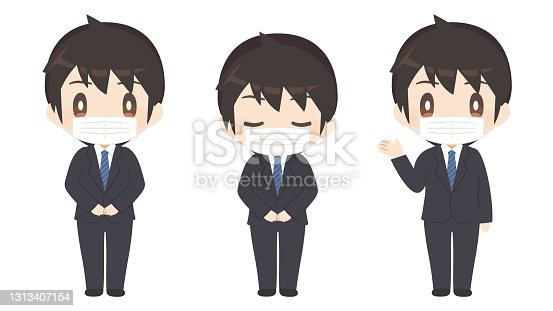 istock Men in business suits / pose sets / customer service 1313407154