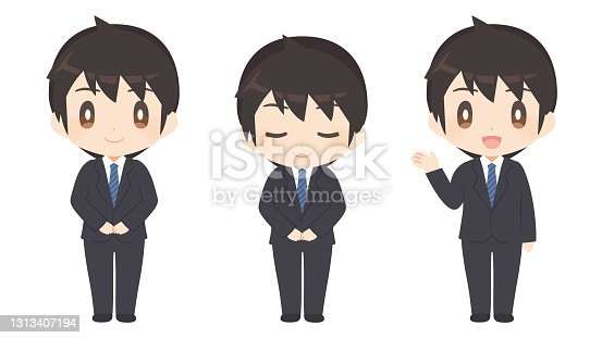 istock Men in business suits / pose sets / customer service 1313407194