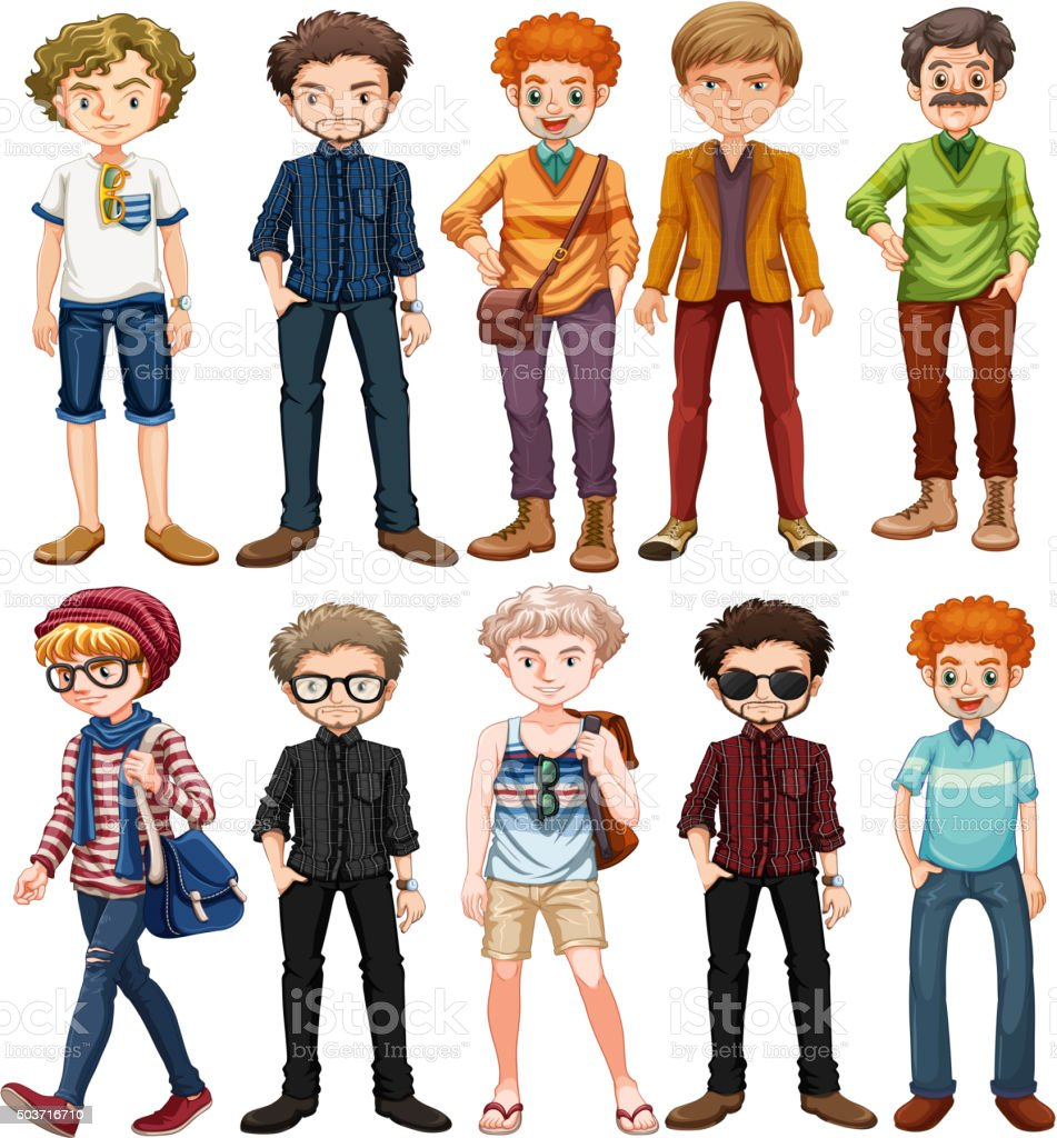 Men in different outfit vector art illustration