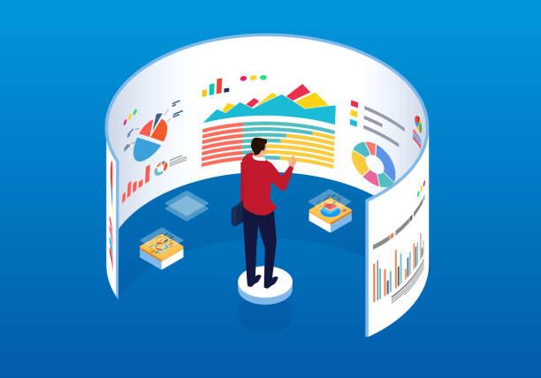 männer vor dem bildschirm daten analyse - broker stock-grafiken, -clipart, -cartoons und -symbole