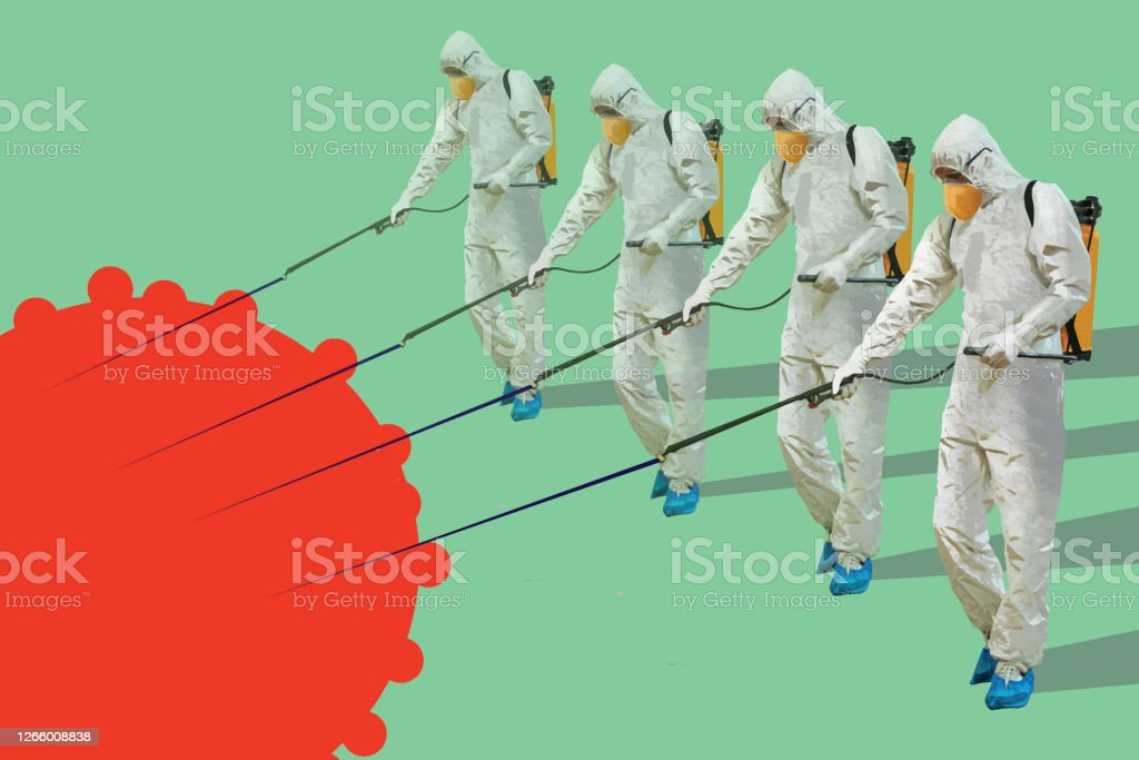 Men in hazmat suit spraying and disinfecting during coronavirus epidemic Sanitary workers in protective suits spreading chemicals to disinfect a surface Adult stock vector