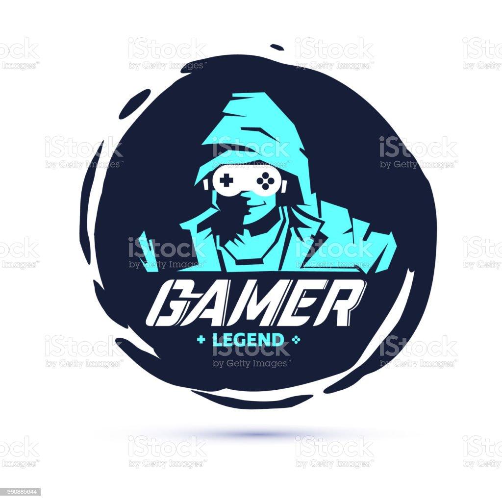 men in hood sweater in dark room. negative space with console joystick as glasses. Gamer legend. gamer logo concept - vector vector art illustration