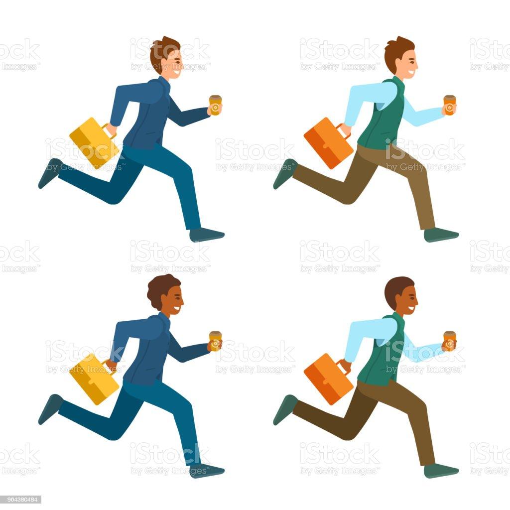 Mannen in kantoor pakken, werken kleren met koffer en koffie. - Royalty-free Attaché vectorkunst