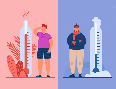 Men in summer and winter flat vector illustration