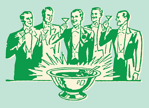 men in tuxedo toasting around punch bowl - bachelor party stock illustrations, clip art, cartoons, & icons
