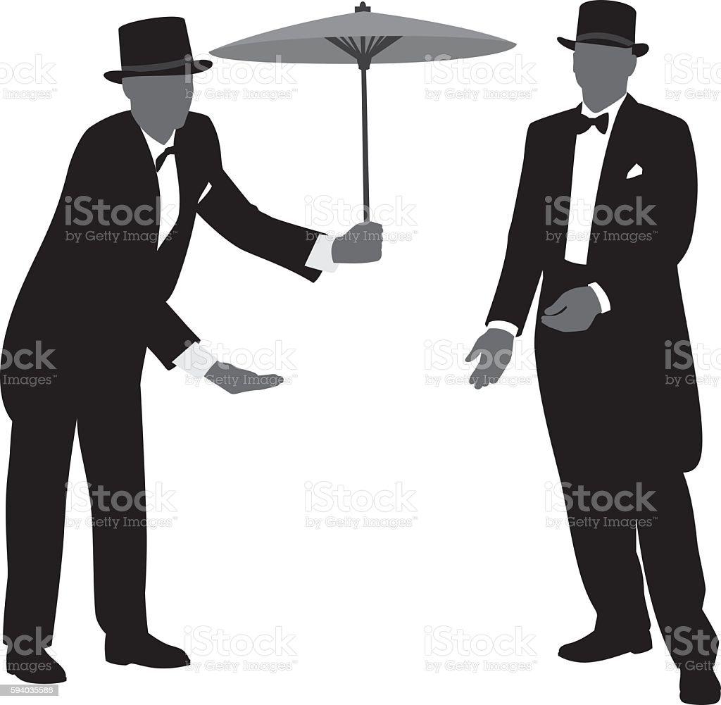Men in Tuxedos Silhouettes 3 vector art illustration