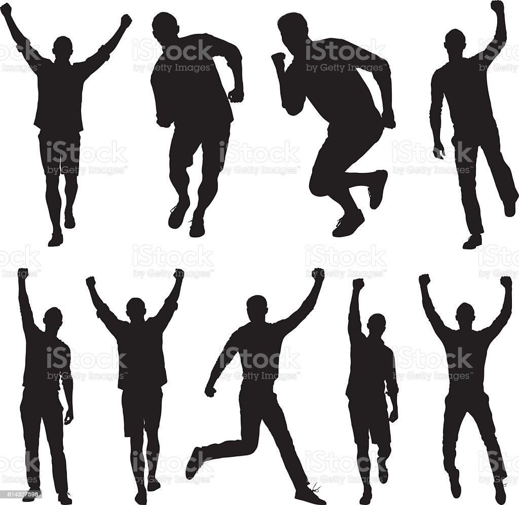 Men jumping and cheering vector art illustration