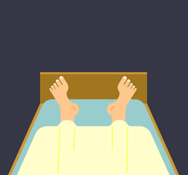 männer beine im bett schlafen. schlafenden kerl. mann unter decke - möbelfüße stock-grafiken, -clipart, -cartoons und -symbole
