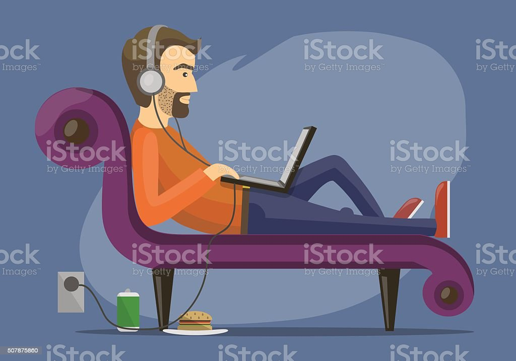 men lies on the sofa vector art illustration
