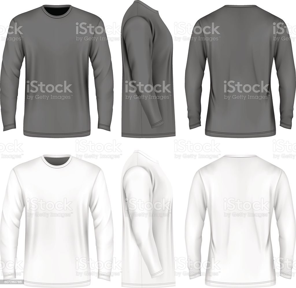 Men long sleeve t-shirt . vector art illustration