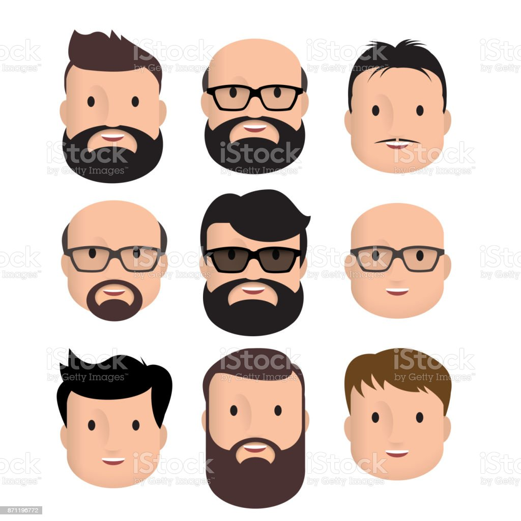 Homens de rosto humano masculino - ilustração de arte em vetor
