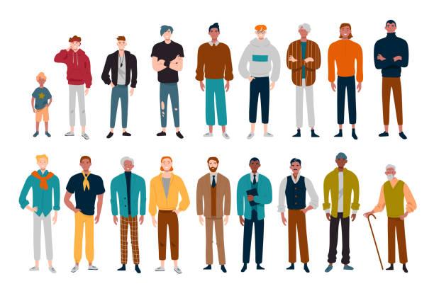 Männer, viele männliche Charaktere unterschiedlichen Alters. – Vektorgrafik