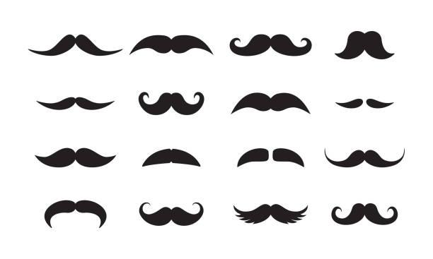 ilustrações, clipart, desenhos animados e ícones de os homens bigode estilos ícones vetor preto conjunto - bigode