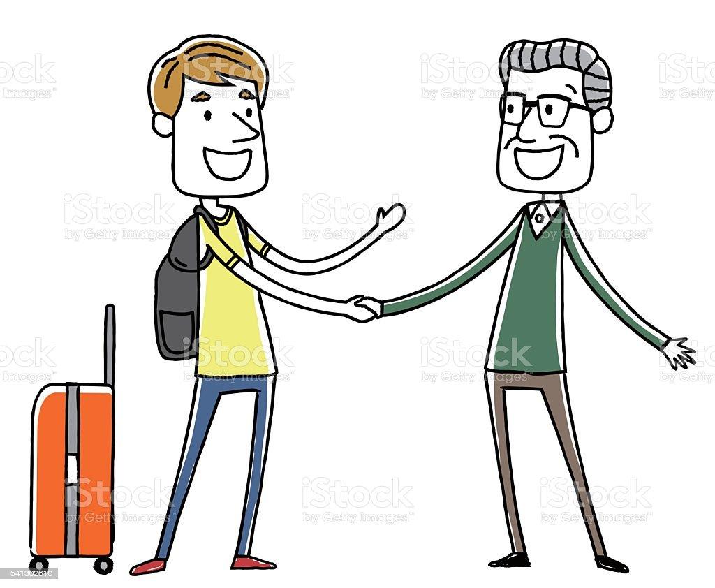 Men of senior shaking hands with foreign travelers vector art illustration