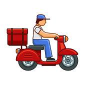 Men on Bike Deliver Package Icon. Vector