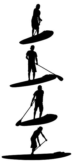 Men paddle surfing