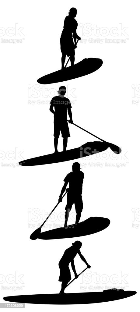 Hommes, paddle surfing - Illustration vectorielle