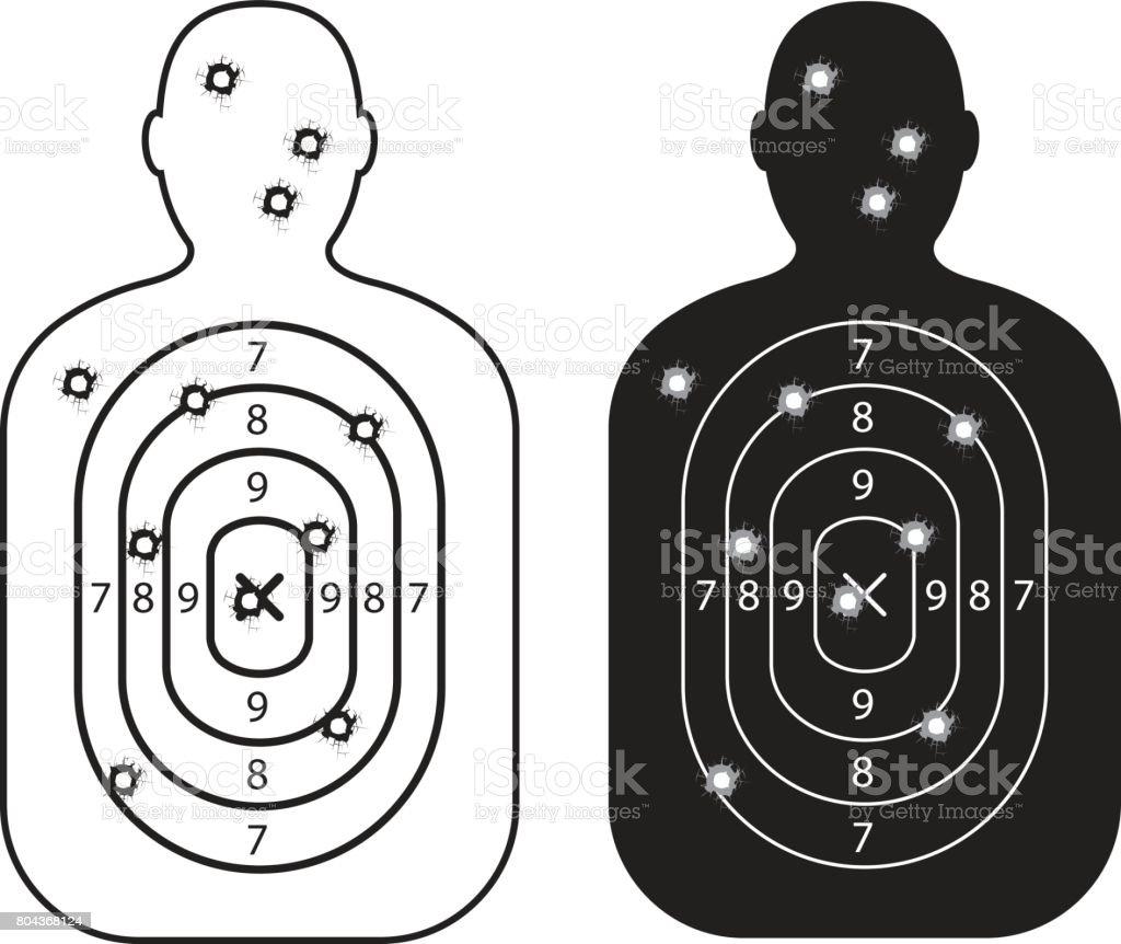men paper targets with bullet holes vector art illustration