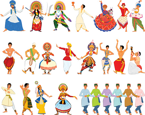 Men performing classical and folk dance of India