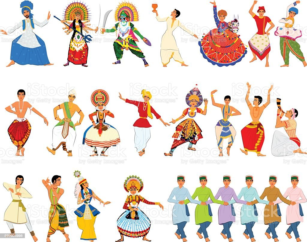 Men performing classical and folk dance of India vector art illustration