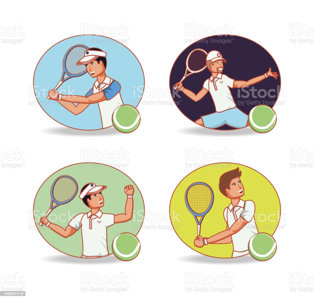 men players tennis characters vector art illustration