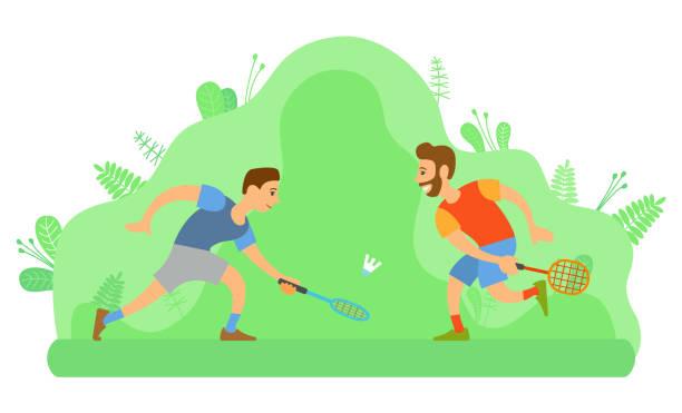men playing badminton, outdoor activity or sport - badminton smash stock illustrations