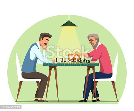 istock Men playing chess on board with clock. Serious people sitting at table with game and thinking. Leisure time or competition indoor vector illustration. Intelligent entertainment 1294653224
