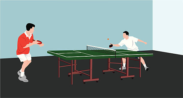 men playing table tennis  ping pong table stock illustrations