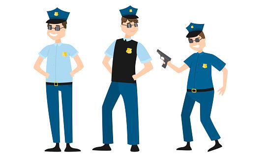 Men policemen in traditional blue uniform and sunglasses vector illustration