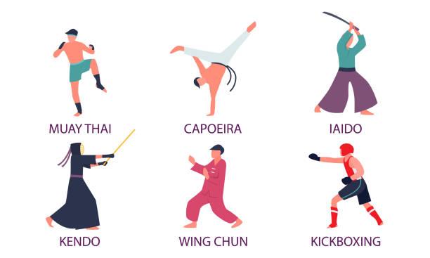 illustrazioni stock, clip art, cartoni animati e icone di tendenza di uomini che praticano diversi tipi di arti marziali asiatiche con titoli - box name