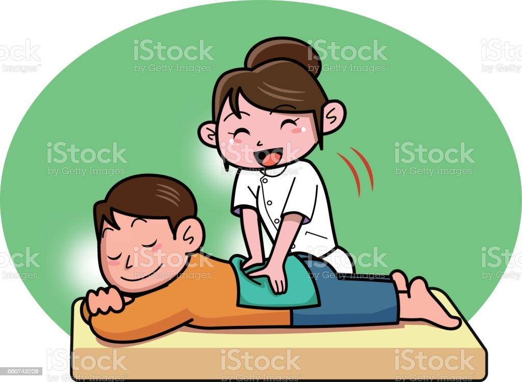 Men receiving massage vector art illustration