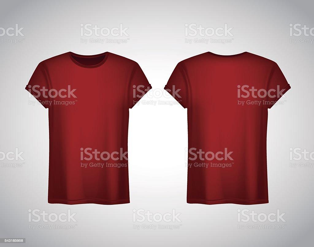Men Redtshirt Realistic Mockup Short Sleeve Tshirt Template