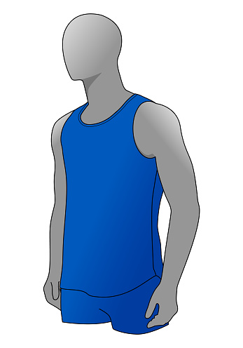 Men' s Blue Tank Top Template Vector On White Background.