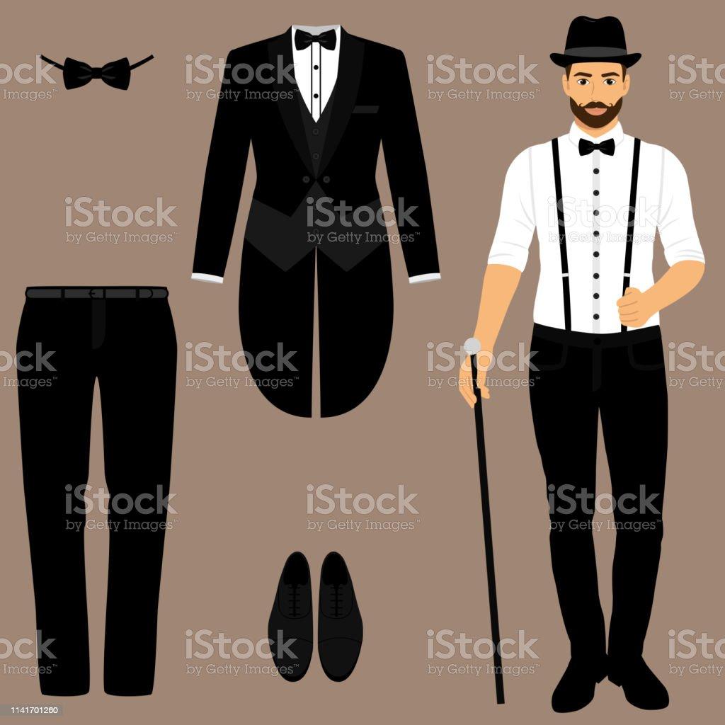 Men s tuxedo. Gentleman. Men s Accessories. Wedding men s set. Flat...