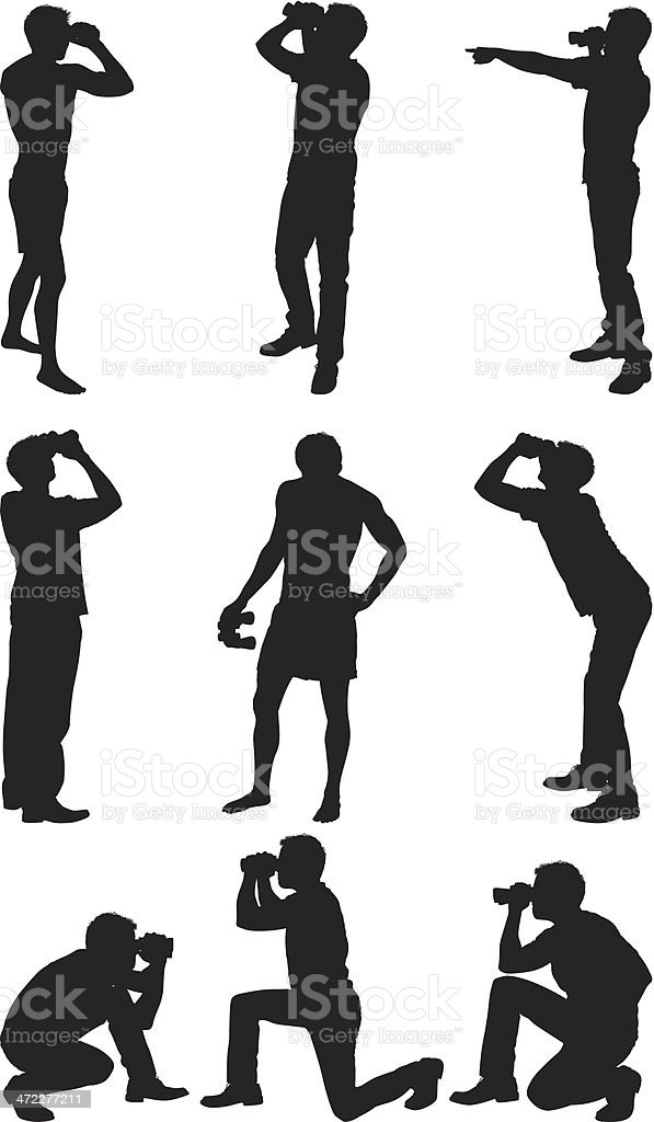Men searching with binoculars vector art illustration