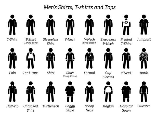 Men shirts, t-shirts, and tops. vector art illustration
