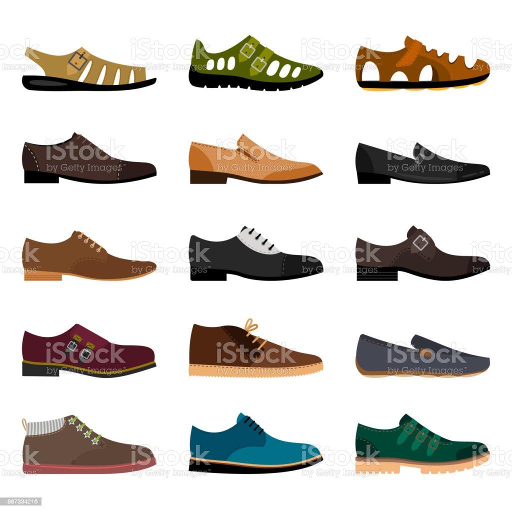 Collection De Chaussures Hommes Vecteurs libres de droits et