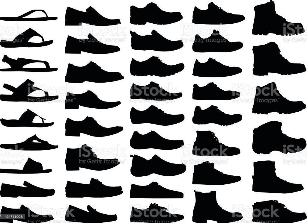 Men Shoes Silhouettes vector art illustration