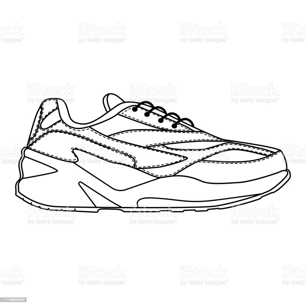 e64d9549304 Men shoes sneakers trainers isolated. Male man season shoes or running icons.  Technical sketch