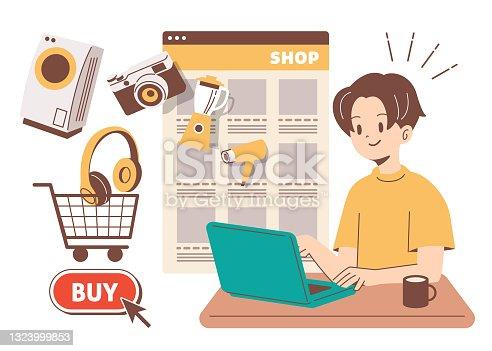 istock Men shopping online 1323999853
