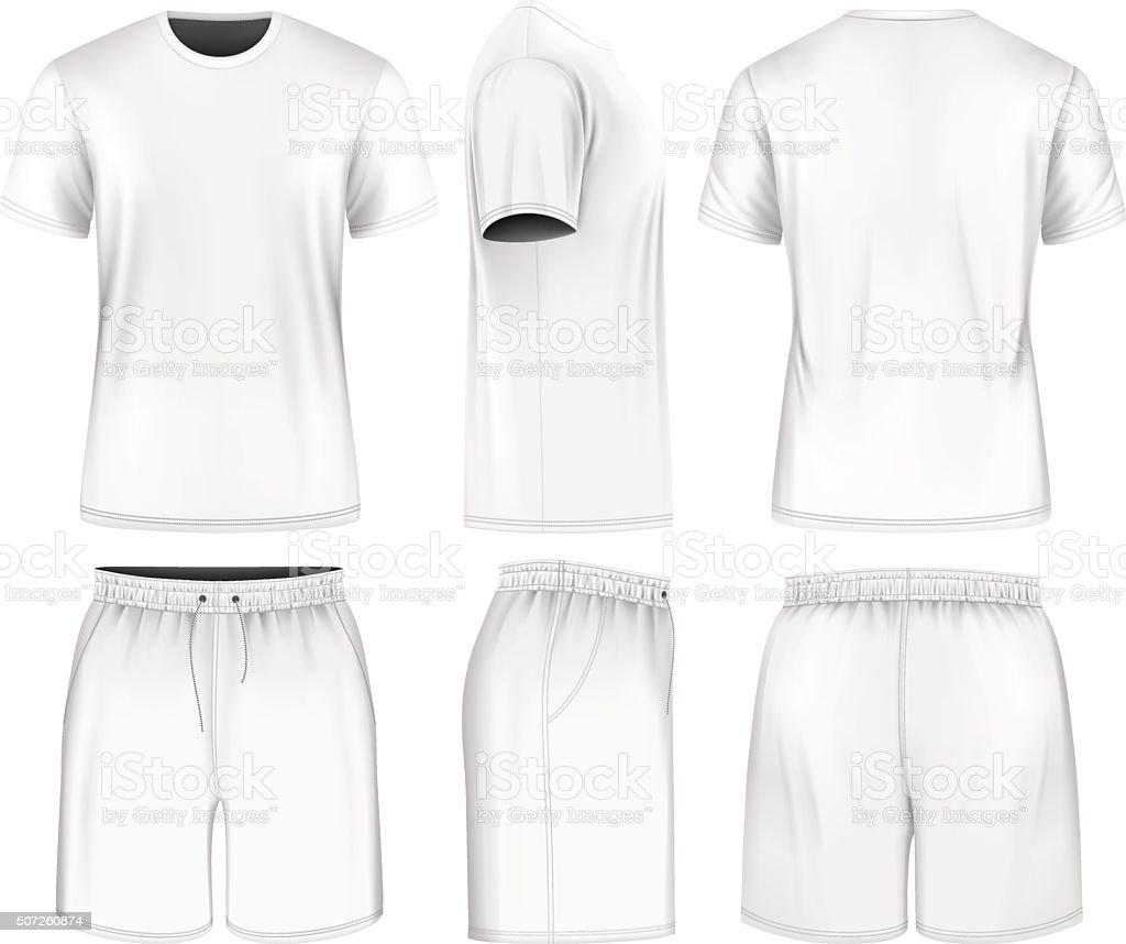 Men short sleeve t-shirt and sport shorts. vector art illustration