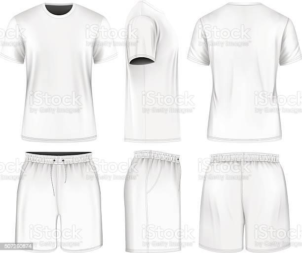Men Short Sleeve Tshirt And Sport Shorts-vektorgrafik och fler bilder på Bakifrån