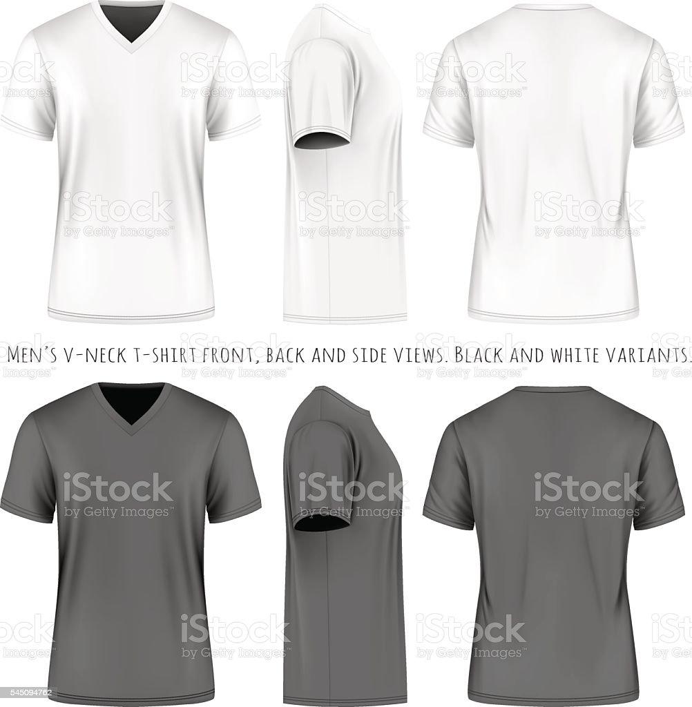 Men short sleeve v-neck t-shirt vector art illustration
