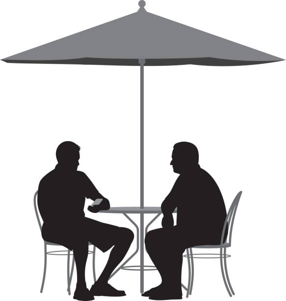 Royalty Free Two Men Talking Outside Clip Art Vector
