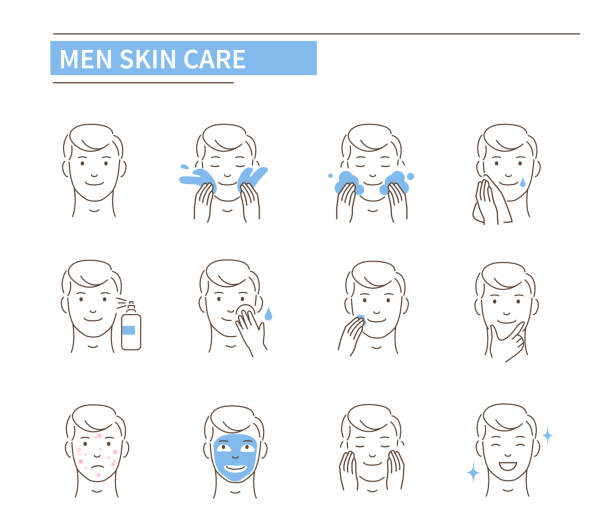 男性スキンケア - スキンケア点のイラスト素材/クリップアート素材/マンガ素材/アイコン素材
